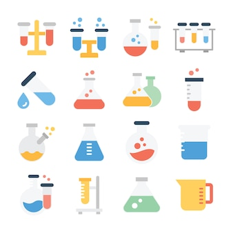 Pack of biochemistry equipment icons