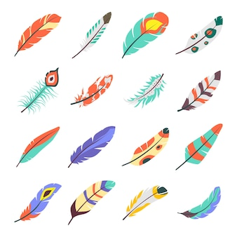 Pack of bird wings flat icons