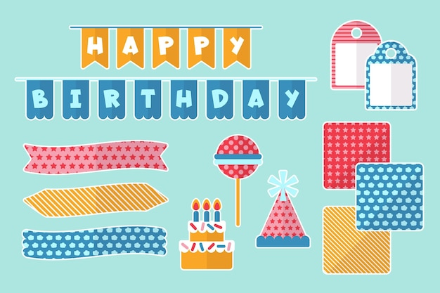 Pack of birthday decorative scrapbook elements