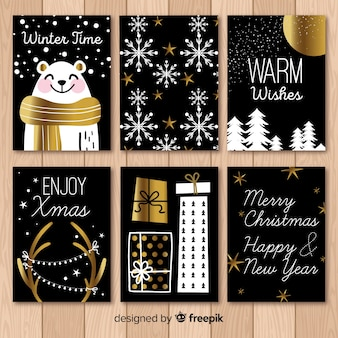 Pack of black christmas cards