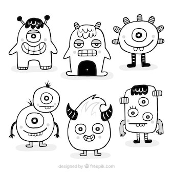 Pack of black and white monsters