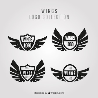 Pack of black wings and shield logos