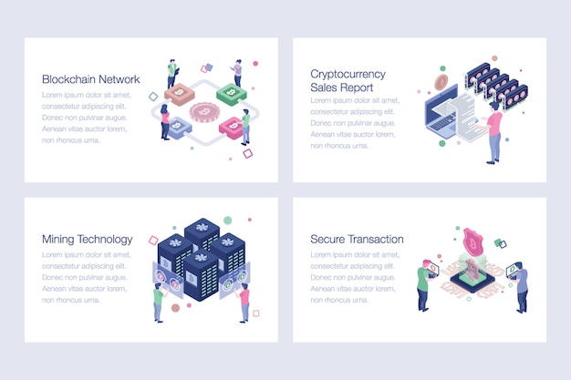 Pack of blockchain vector illustrations