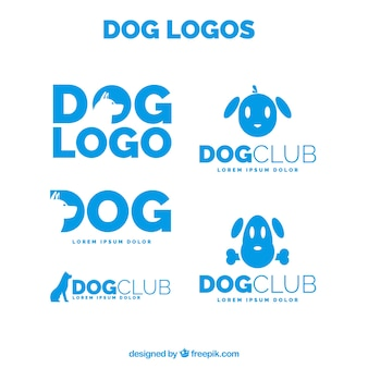 Pack of blue dog logos in flat design