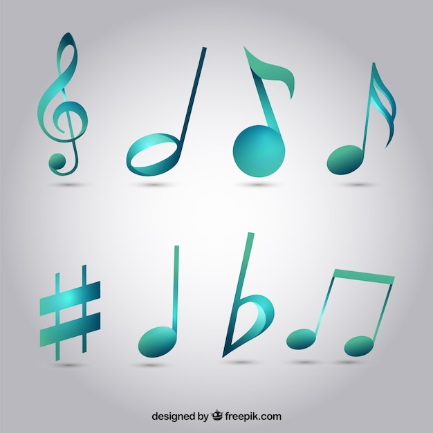 Pack of blue musical notes