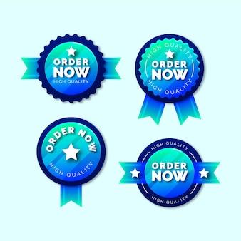 Confezione di adesivi blu order now Vettore gratuito