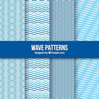 Pack blue waves patterns