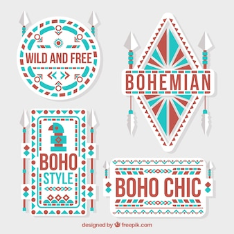 Pack of boho stickers in flat design