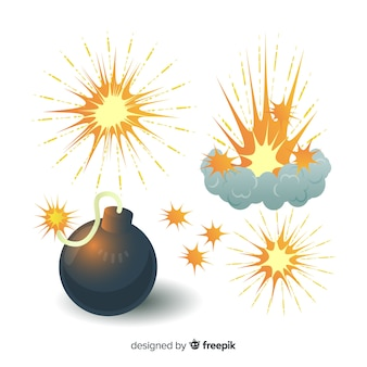 Pack of bombs and explosions cartoon style