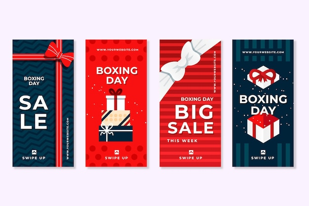 Pack of boxing day sale social media stories