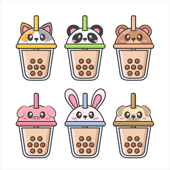 Pack of bubble tea cup with cute animal face lid