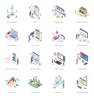 Pack of buiness isometric illustration