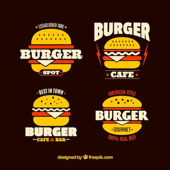 Pack of burger logos with red details