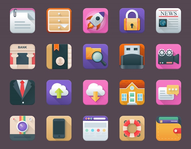Pack of business app icons