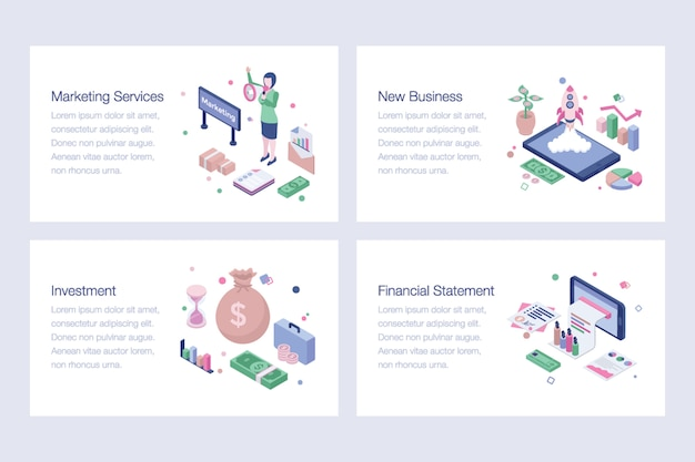 Pack of business isometric illustrations