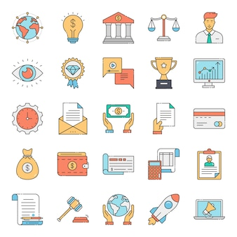 Pack of business law conceptual icons