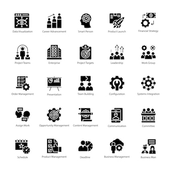 Pack of business management icon vector