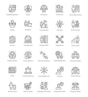 Pack of business management line icons