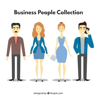 Pack of businesspeople in flat style