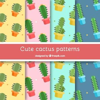 Confezione di modelli cactus in design piatto