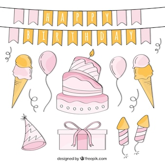 Pack of cake and hand drawn birthday items