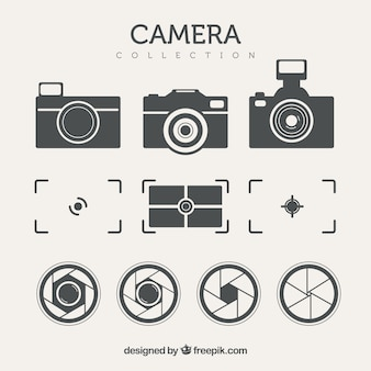 Pack of cameras and other elements in retro style