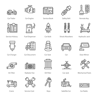 Pack of car accessories icons