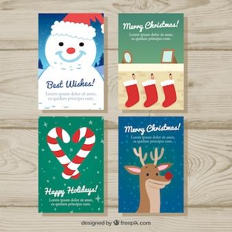 Confezione di carte con ornamenti e bei personaggi di natale