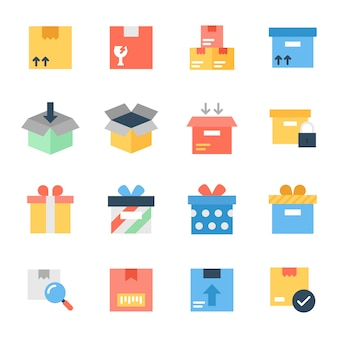 Pack of cargo flat icons