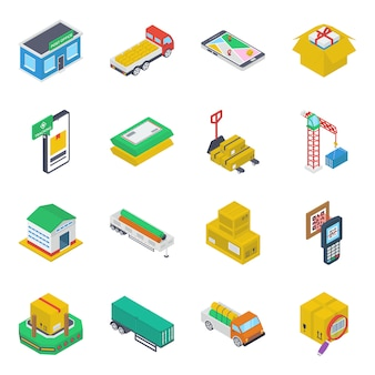 Pack of cargo iometric icons