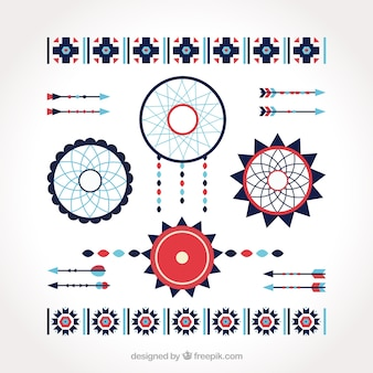 Confezione di cacciatori ed elementi decorativi etnici in design piatto