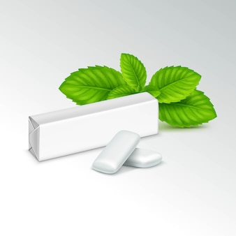 Pack of chewing gum with fresh mint leaves