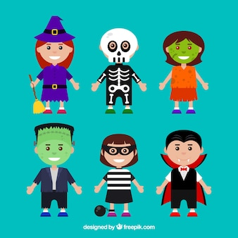 Pack of children disguised as halloween