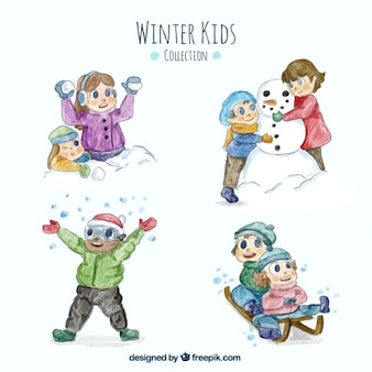 Pack of children enjoying the winter in watercolor effect