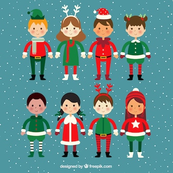 Pack of children with christmas costumes