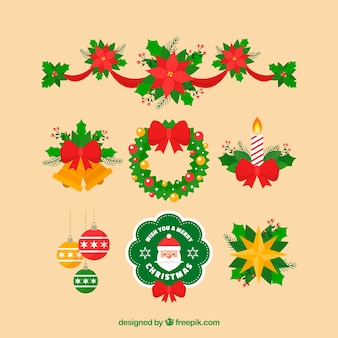 Pack of christmas elements in flat design