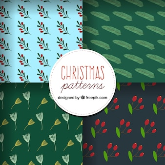 Pack of christmas patterns with vegetation