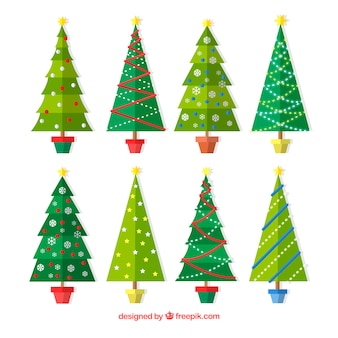 Pack of christmas trees in flat design