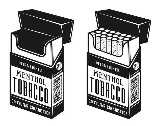 Pack of cigarettes two style full and empty illustration in monochrome style