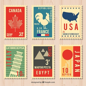 Pack city stamps in vintage style