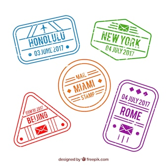 Pack of city stamps in vintage style
