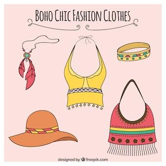 Confezione di clohes e accessori in stile boho