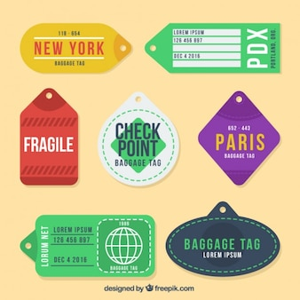 Pack of colored cities tags