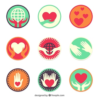 Pack of colored flat charity labels