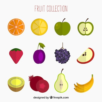 Pack of colored fruits in flat design