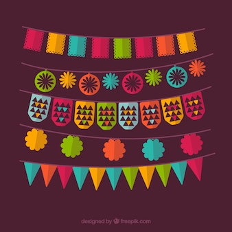 Confezione da partito ghirlande colorate in design piatto