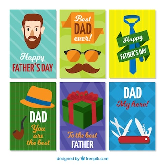 Pack of colored greeting cards for father's day