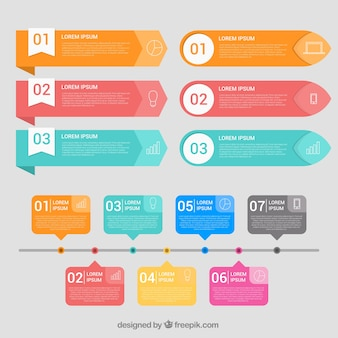 Pack of colored infographic elements