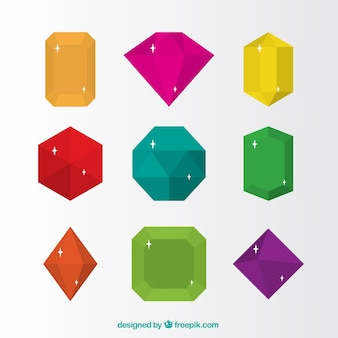 Pack of colored jewelry in flat design