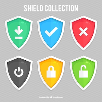 Pack of colored shields with icons